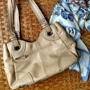 Tan Pebbeled Leather Shoulder Bag